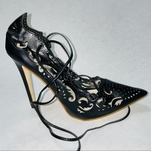 Paolo Russoto Laser Cut Ankle Wrap Heels